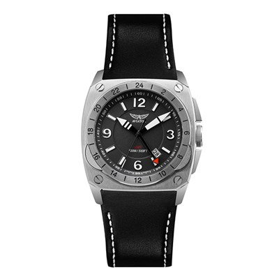Aviator Swiss Gents MIG - 29 GMT Watch with Genuine Leather Strap