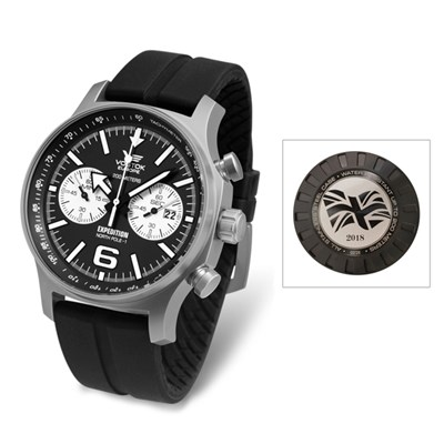 Vostok Europe Gents Limited Edition (1-75) Union Flag Engraved Expedition N1 Chronograph with Black Silicone Strap