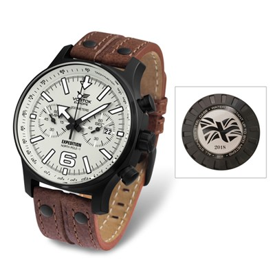 Vostok Europe Gent's Limited Edition (1- 75pcs) Union Flag Engraved Expedition Chronograph Watch with Genuine Leather Strap