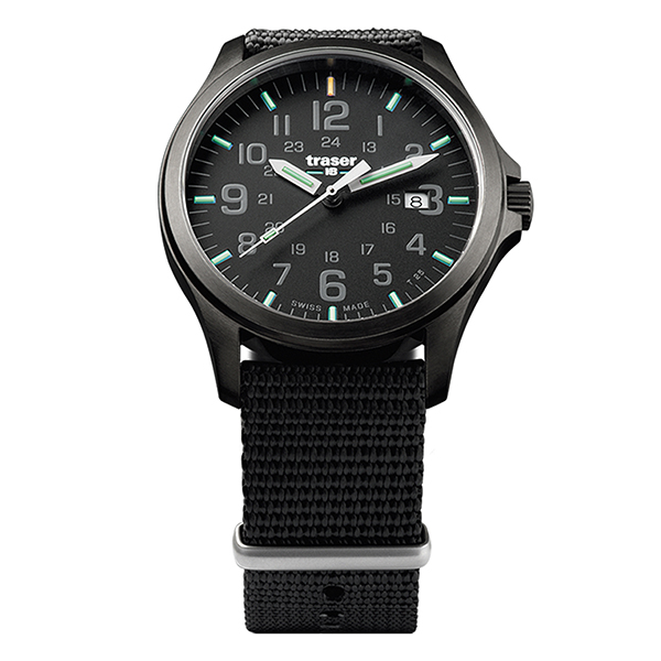 Traser Gent's Swiss P67 Officer Gunmetal Watch with Black Textile Nato Strap Black
