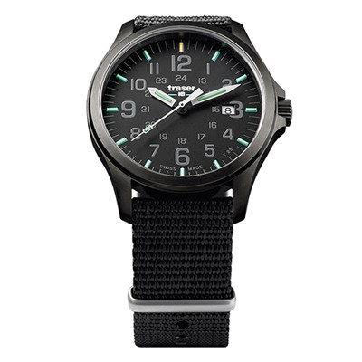Traser Gents Swiss P67 Officer Gunmetal with Black Textile Nato Strap
