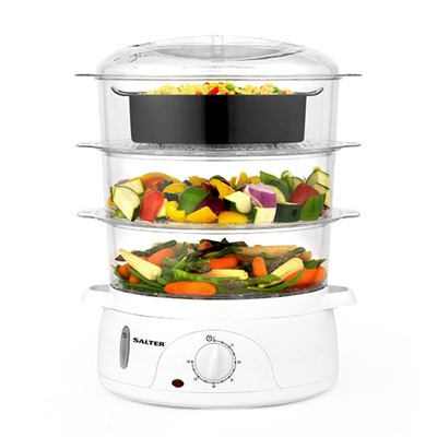 Salter EK2846 Healthy Cooking 3-Tier Food Rice Meat Vegetable Steamer, 9 Litre, 800 W, Plastic