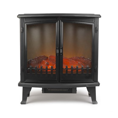 Beldray EH1363GSAR Paguera Glass Sided Free Standing Electric Stove with LED Flame Effect, 1800 W, 25�