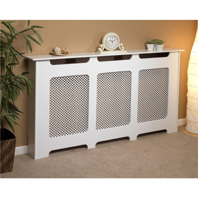 Beldray EH1842STK Wooden Radiator Cover, 100% FSC, Large, White Satin Finish