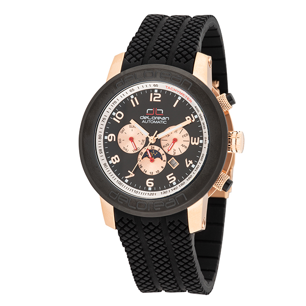 deLorean Gent's Limited Edition Skid Automatic Watch with Silicone Strap Black