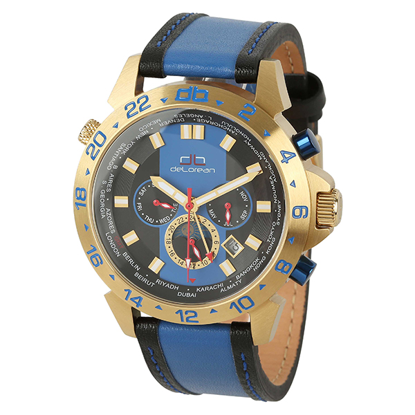 deLorean Gent's Limited Edition Fast Lane Automatic Watch with Genuine Leather Strap Blue