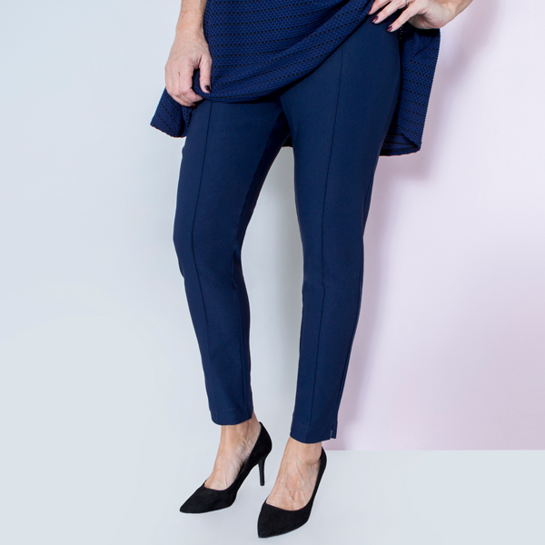 Emelia Superstretch Bengaline Side Split Trouser 27 Inch Navy