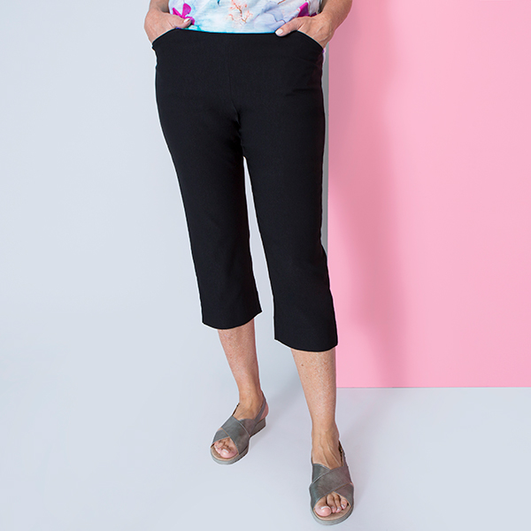 Emelia Superstretch Bengaline Crop Trouser Black