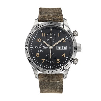 Mathey-Tissot Gent's Limited Edition Type 21 Chronograph with ETA Valjoux 7750 Movement and Genuine Leather Strap
