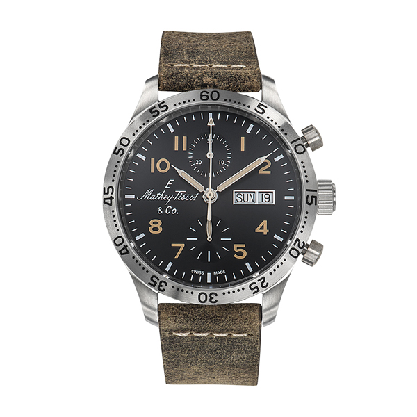 Mathey-Tissot Gent's Limited Edition Type 21 Chronograph with ETA Valjoux 7750 Movement and Genuine Leather Strap Brown