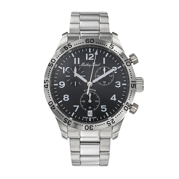 Mathey-Tissot Gent's Fly Back Chronograph with ETA G10.212 Movement and Stainless Steel Bracelet Black