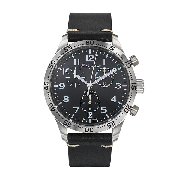 Mathey-Tissot Gent's Fly Back Chronograph with ETA G10.212 Movement and Genuine Leather Strap Black