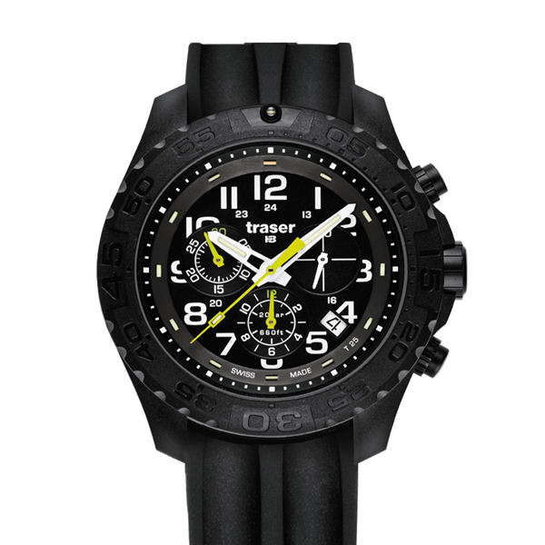 Traser Gent's Swiss H3 Outdoor Pioneer Chronograph Watch with Silicone Strap Black