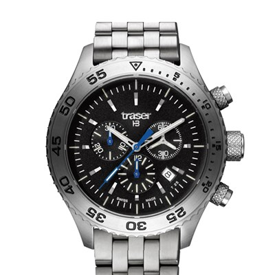 Traser Gent's Swiss T5 Aurora Chronograph Watch with Stainless Steel Bracelet