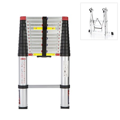 Spear and Jackson 3.8m (12.6 ft) Telescopic Ladder MKII with Free Standing Conversion Kit