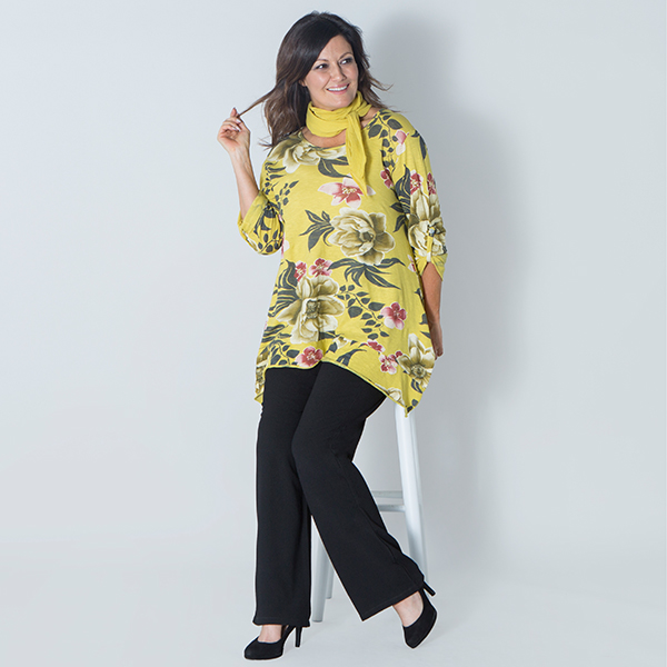 Maysa Floral Sharkbite Top with Scarf Mustard