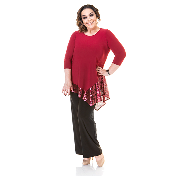 Just Be You Asymmetric Sequin Trim Top Red