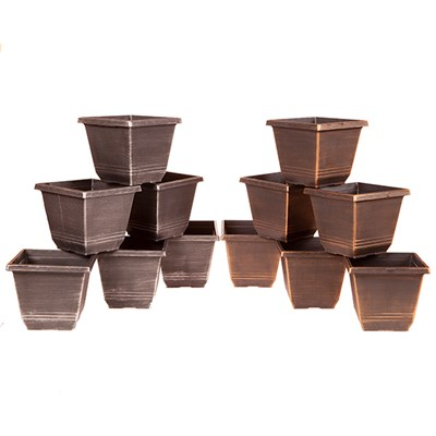 12 Pack of 20cm (8in) Square Torino Metallic Planters