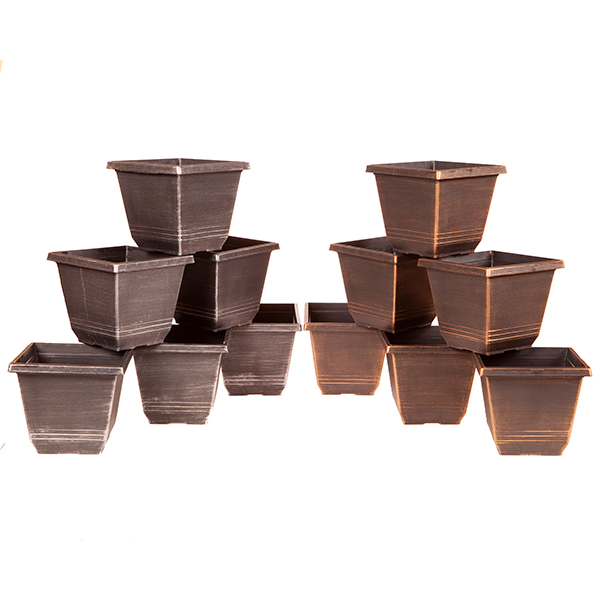 Square Torino Metallic Planters 8inch (12 Pack) No Colour