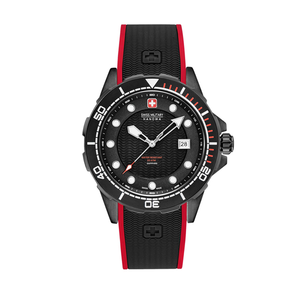Swiss Military by Hanowa Gent's Neptune Diver Watch with Silicone Strap Black