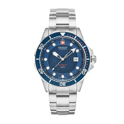 Swiss Military by Hanowa Gent's Neptune Diver Watch with Stainless Steel Bracelet & Gift