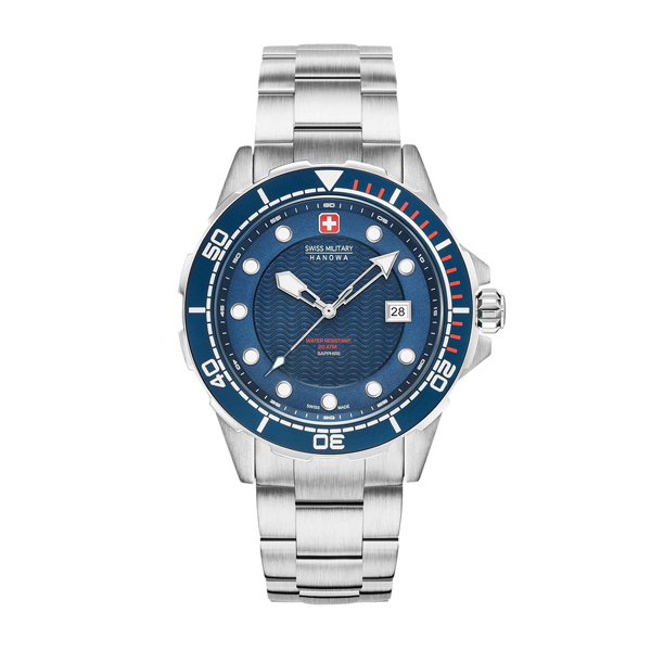 Swiss Military by Hanowa Gent's Neptune Diver Watch with Stainless Steel Bracelet Blue