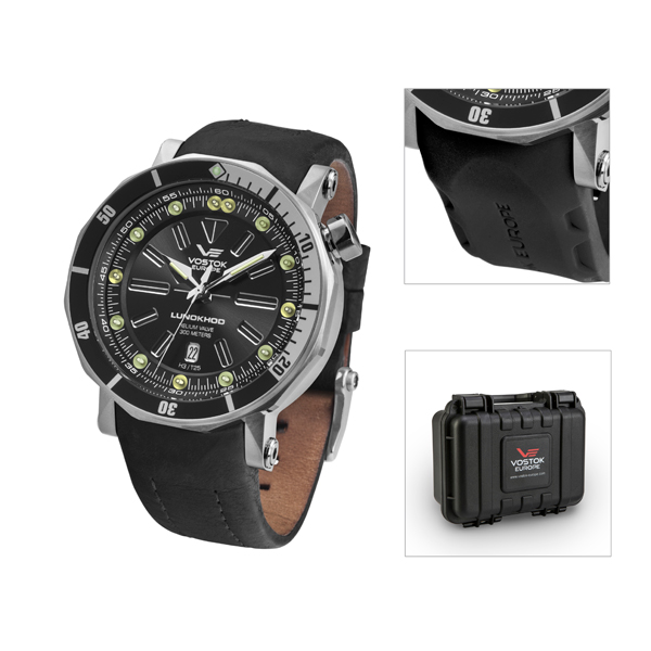 Vostok Europe Gent's Lunokhod 2 Automatic Watch with Interchangeable Strap and Dry Box Black