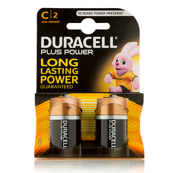 Duracell Plus Power C Cell (2 Pack) No Colour
