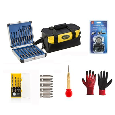 Drill All 16pc Drill Bits with 9pc Screwdriver Set, 4pc Reverse Action Drill Bits, Centre Punch, Head Torch, Gloves and Bag