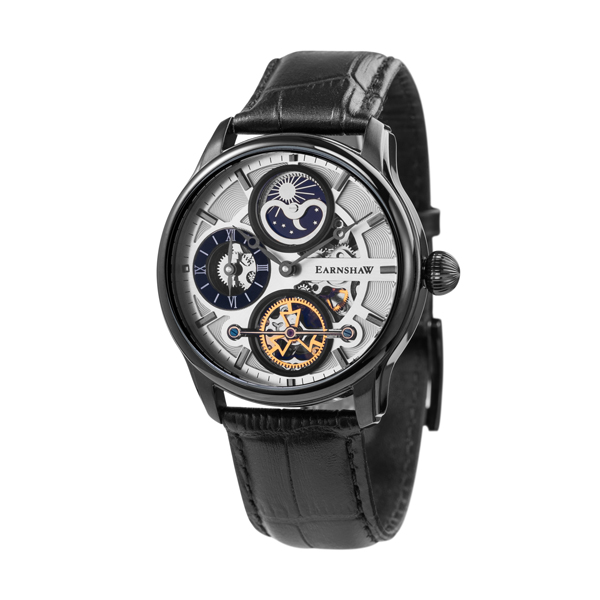 Thomas Earnshaw Gent's Longitude Hemisphere Sun & Moon Automatic ION Black Watch with Genuine Leather Strap Black