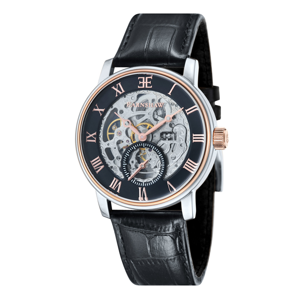 Thomas Earnshaw Gent's Westminster Automatic Watch, Genuine Leather Strap Black/Rose Gold