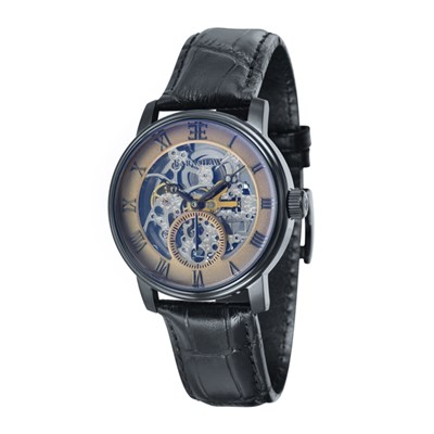Thomas Earnshaw Gent's Westminster Skeleton Automatic IP Plated Black Watch with Genuine Leather Strap