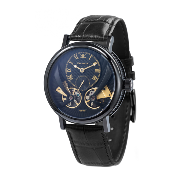 Thomas Earnshaw Gent's Beaufort Anatolia Automatic IP Plated Watch with Genuine Leather Strap Black