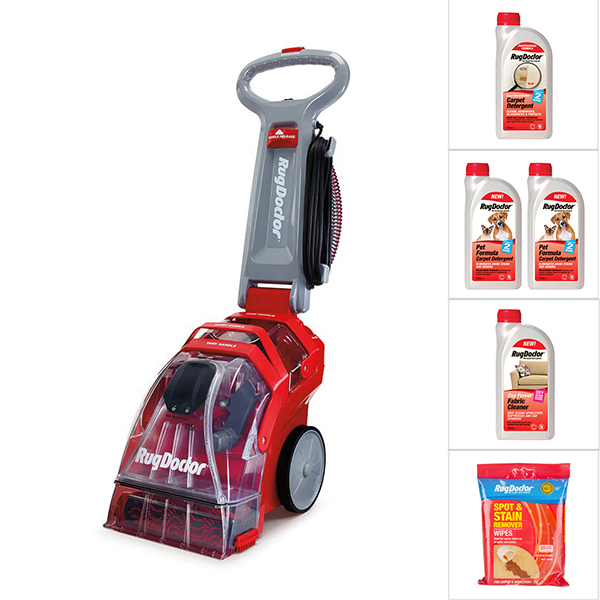 Rug Doctor Upright Carpet Cleaner with Carpet Detergent, 2 x Pet Detergent, Oxy Power Fabric Cleaner & Wipes No Colour