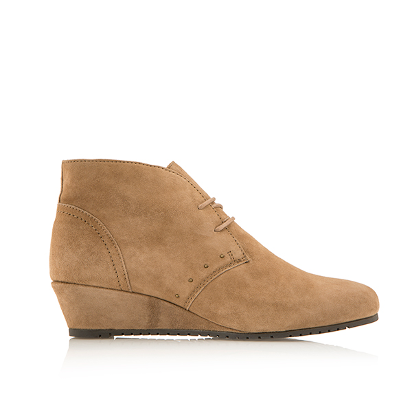 Scholl Lorelie Leather and Suede Wedge Ankle Boot Beige