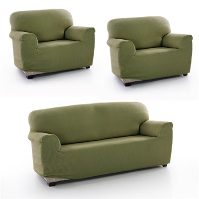 Two Way Bi Stretch 3 Seater Sofa and 2 Armchair Covers Set