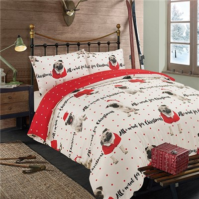 Christmas Pug Duvet Cover Set Double