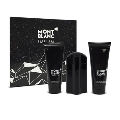 Mont Blanc Emblem EDT 100ml, Shower Gel 100ml & Aftershave Lotion 100ml