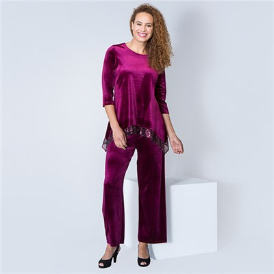 Kasara Velvet Sequin Trim Tunic