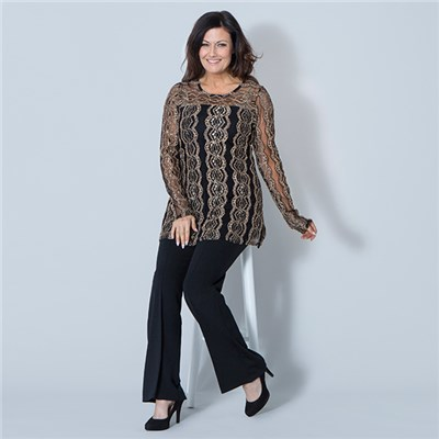 Nouvelle Jacquard Lace Long Sleeve Top