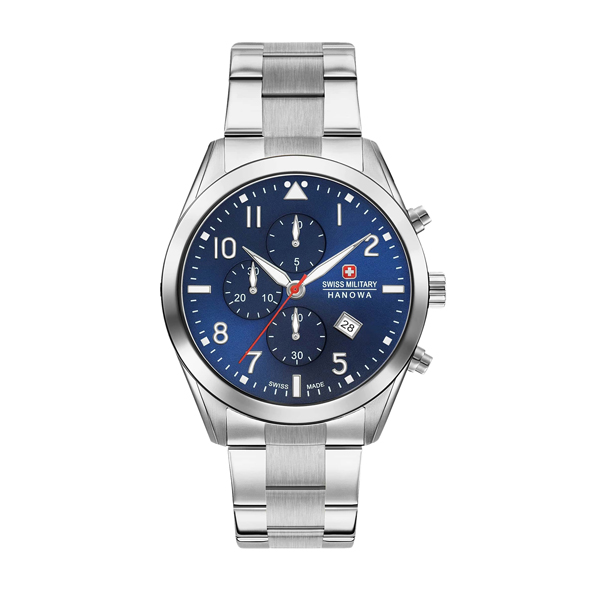 Swiss Military by Hanowa Gent's Helvetus Chronograph Watch with Stainless Steel Bracelet Blue