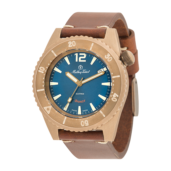 Mathey-Tissot Gent's Limited Edition Bronze Diver Watch with ETA 2824 Incabloc Movement, Genuine Leather Strap Blue