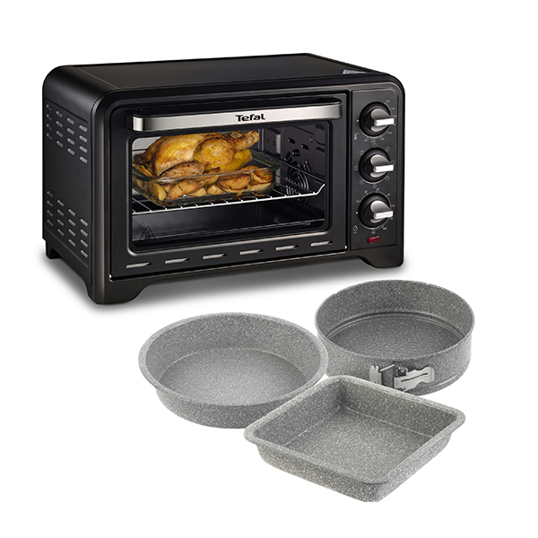 Tefal Optimo 19L Mini Oven with Rotisserie and 3 Piece Marble Bakeware and Roast Set