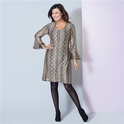 Nouvelle Frill Sleeve Sequin Jacquard Lace Dress
