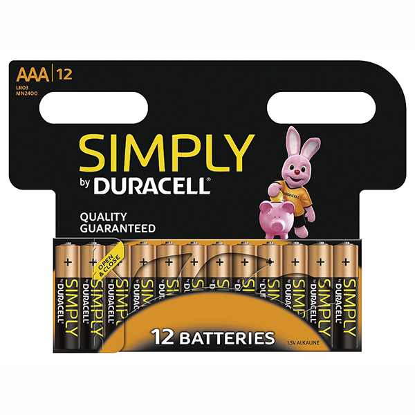 Duracell Simply AAA Batteries (12 Pack) No Colour