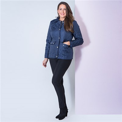 David Barry Quilted Jacket with Corduroy Trim Collar