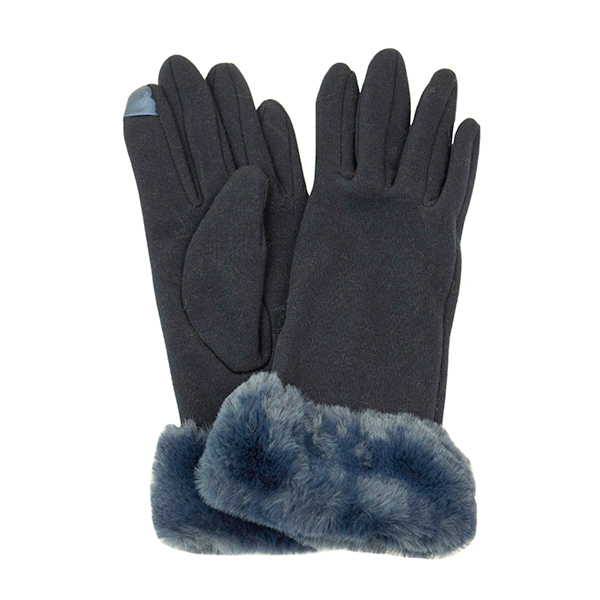 Faux Fur Trim Glove Navy