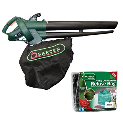 Q Garden 2500W Blower Shredder Vac with Heavy Duty Garden Tidy Bag