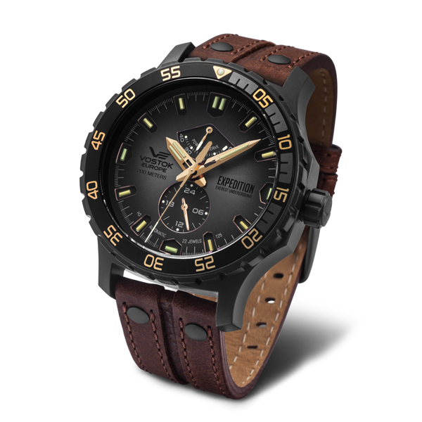 Vostok Europe Gent's Expedition Everest Underground PVD Automatic Watch with Interchangeable Straps, Dry Box Brown