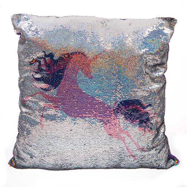 Pink Unicorn Sequin Cushion 60 x 60cm No Colour